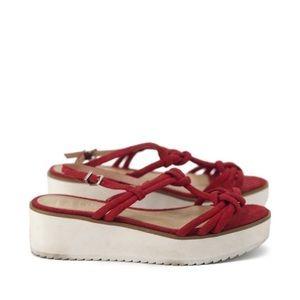 Schutz | red strap platform sandals size 6